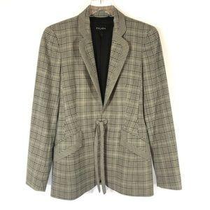 Escada Plaid Tie Front Blazer Size 6